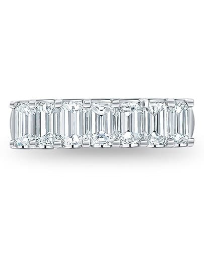 Emerald Cut Diamond Wedding Band - Setting