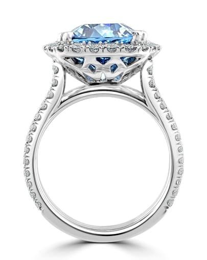 Aquamarine & Diamond Halo Ring