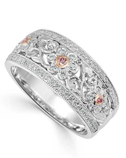 Pink Argyle Filigree Ring